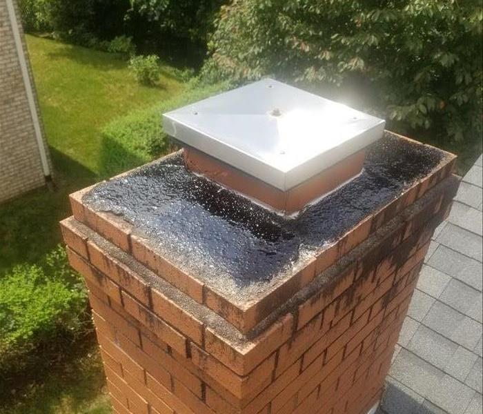 chimney sealed with paint